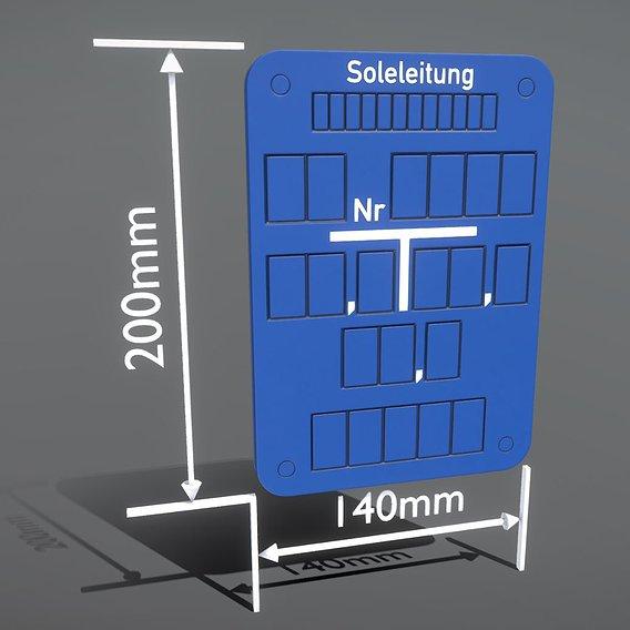 Hinweisschild Soleleitung 200x140mm