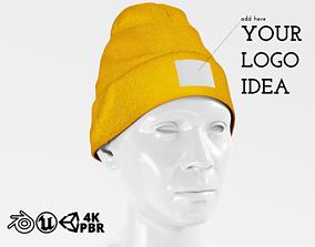 3D model Beanie Hat Cap Winter - Yellow PBR