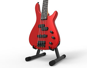 Red Bass Guitar on stand 3D model