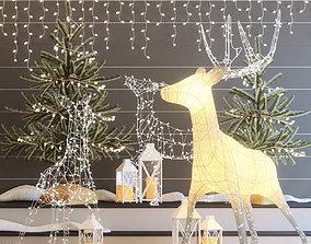 3D model Christmas deers