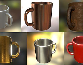 3D asset Coffee Cup Pack - Gameready - PBR