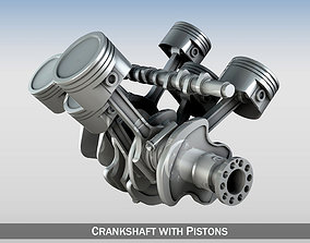 Crankshaft with pistons 3D model