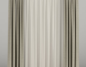 3D Beige curtains with beige tulle