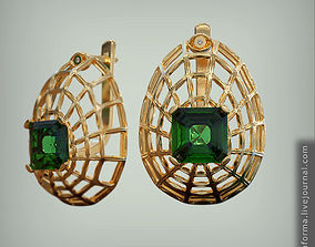 3D printable model Big web earrings with square emerald 3