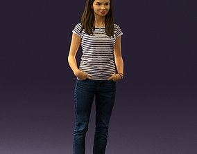 3D Woman in stripped shirt jeans 0605