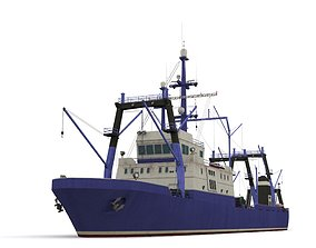 Trawler 3D asset game-ready