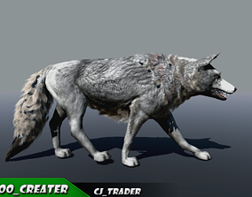 Low-Poly White Wolf Rigged-Animated 3D animated