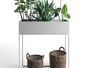 Plant Box with Wicker Baskets 3D model