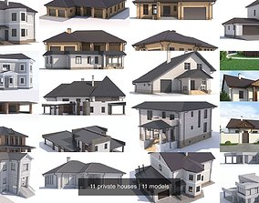 3D model 11 private houses