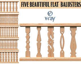 Five beautiful flat balusters 3D