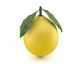 Realistic Lemon with Leaf 3D asset