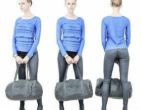 Blue Dress Girl in Leather Pants Holding 3D asset