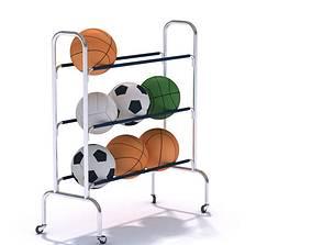 Sports Equipment Rolling Ball Rack 3D model
