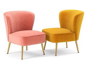 Modern Glam Velvet Armless Chair 3D