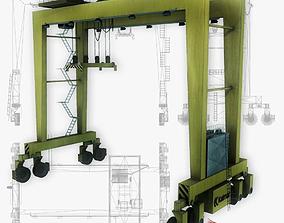 RTG port crane low poly 3D asset