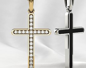 3D print model Fashion Gold Cross with Gemstones