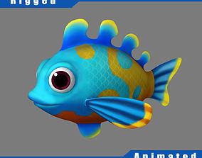 rigged Cartoon Fish02 Rigged Animated 3D model