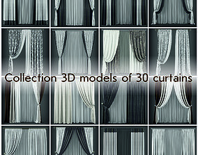 Collection 3D models of 30 curtains-2 game-ready