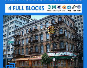 3D model NYC - 4 Blocks - 37 Buildings V2