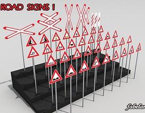 3D model Road signs 1