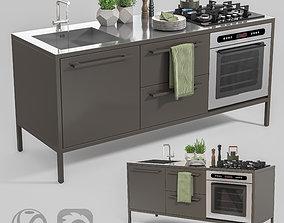 Metal Mini Kitchen 3D asset