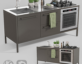 Metal Mini Kitchen 3D asset
