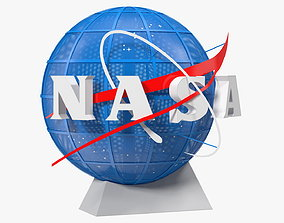 3D NASA Logo on Globe