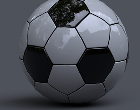 3D asset low-poly stadium soccer ball