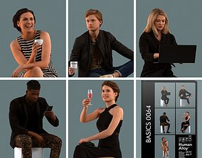 Set of 3D people sitting in various poses