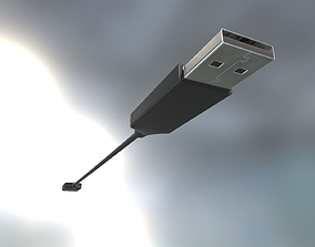 3D asset USB 3 Cable Low Poly Version