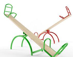 Child Playground Wooden Swing 5 3D model