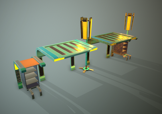 Futuristic table, nightstand and floor lamp