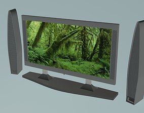 TV set with columnes 3D model