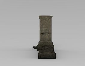 3D model game-ready Lowpoly Gravestone ready