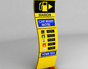 Gas station price sign totem low poly 03 3D model