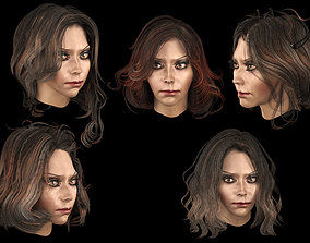 3D model Set woman hairstyles 5 types