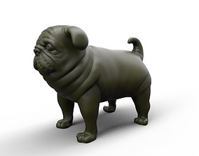 fat stocky doggie dog Pug 3D printable model