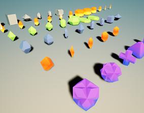 43 Mineral Basic Shapes 3D asset VR / AR ready