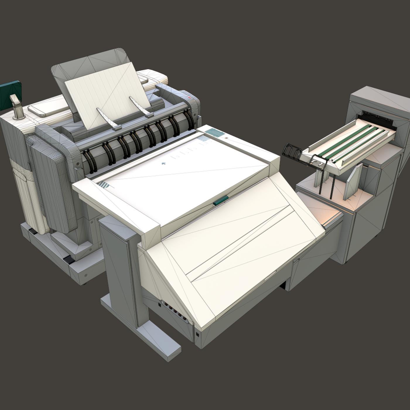 Industrial printer (lowpoly / three blocks)
