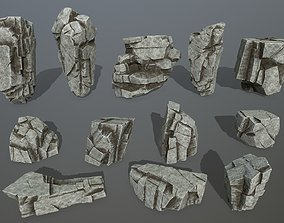 3D model game-ready mosy rocks