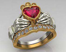 arms 3D printable model Claddagh ring