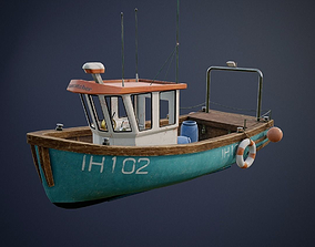 low-poly Fishing Ship with interior game-ready asset