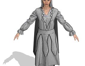 woman traditional dress 3D