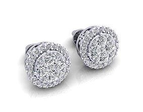 silver Fancy Stud Earring 3d Model Print
