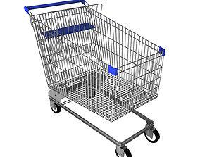 Steel shopping trolley 3D model