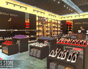 3D asset Shoes store - showroom with footwear