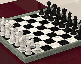 Chess board with pieces 3D print model