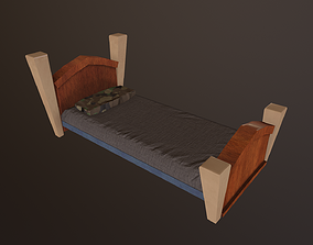 plaid 3D model game-ready Low Poly Bed