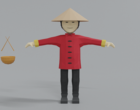 Low Poly Cartoon Chinese Man 3D model