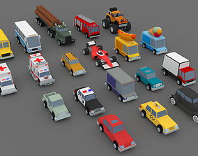 3D asset Collection of low-poly toon cars